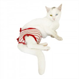 Red Grey Stripe  Kemique's Secret Kedi İç Çamaşırı  Regl Külot  Don